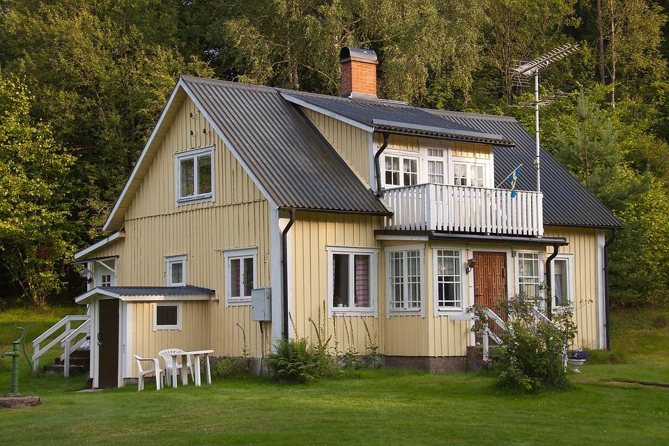 gul, hus, bolig, hjem, bygning, design