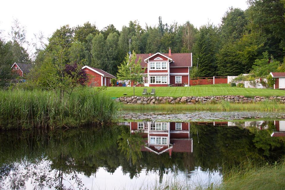 sø, skov, natur, hus, træhus